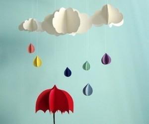 rain, umbrella, and clouds image