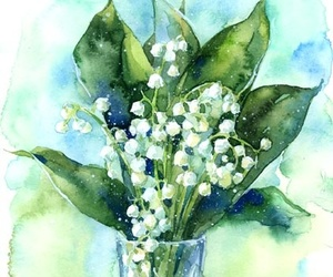 lily of the valley and watercolor image