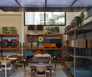 wood chairs, office & workspace., and ceiling-height window image