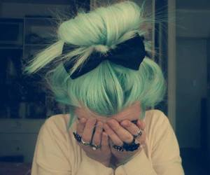 cute girl, green hair, and tumblr image