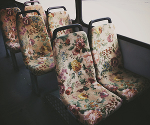 bus, chairs, and flowers image