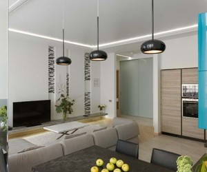 colorful design, modern apartment, and round hanging lamps image