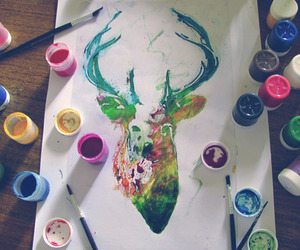 art, deer, and paint image