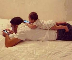 baby, father, and dad image
