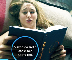 divergent, Shailene Woodley, and book image