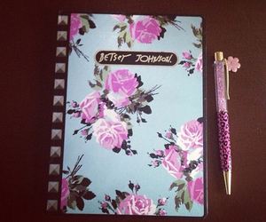 flowers, journal, and leopard image