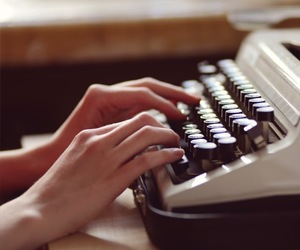 hands, typewriter, and marinenko image