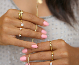 brown hair, gold rings, and love image