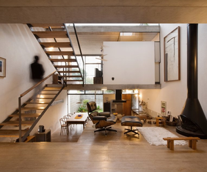 fireplace, streamlined, and loft space image