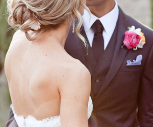 bride and groom, tux, and wedding image