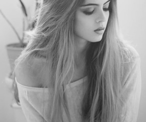 girl, beautiful, and black and white image