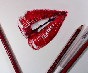 lips, red, and drawing image