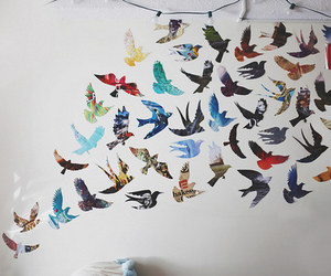 bedroom, decor, and birds image