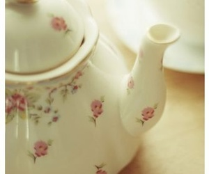 floral, teapot, and tea image