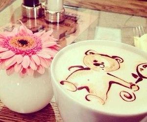 coffee, flowers, and bear image
