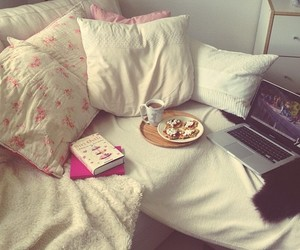 book, food, and bed image