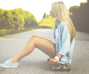 girl, skateboard, and vans image