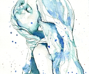 aquarel, blue, and hair image