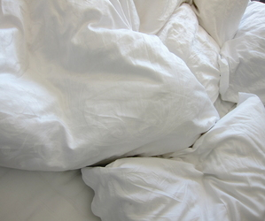 white, bed, and sheets image
