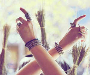 bracelet, rings, and hipster image