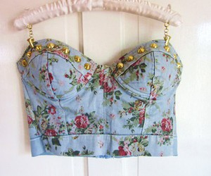 floral, studs, and bustier image