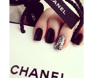 black, chanel, and glitters image