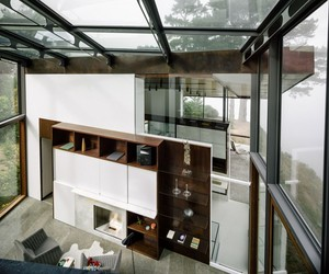 natural open space, front glass house, and stylish balcony style image
