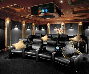 home theater, interior design, and luxury image