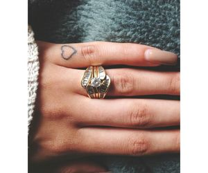 heart, ring, and tattoo image
