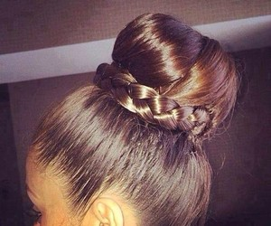 hair, bun, and braid image