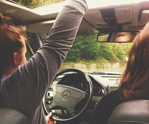 car, driving, and girls image