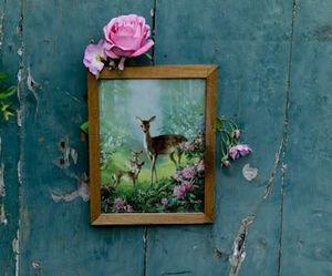 vintage, deer, and flowers image