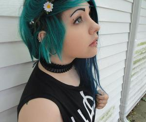 blue hair, corset, and flower crown image