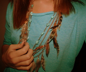 blue, feathers, and hipster image