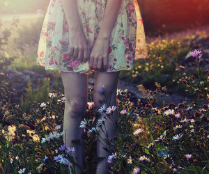 girl, flowers, and skirt image