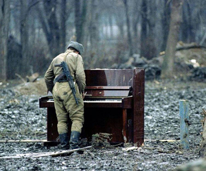 music, piano, and soldier image