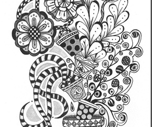 doodles, flowers, and zentangle image