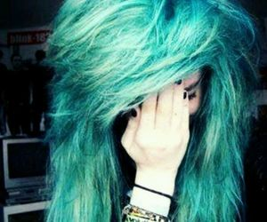 blue hair, emo, and blue image