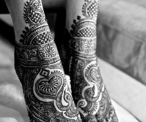 henna, feet, and tattoo image