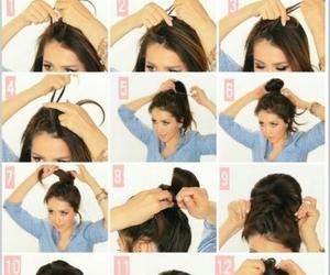 hair, tutorial, and bun image