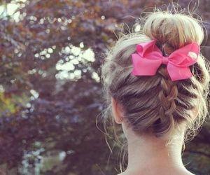 hair, bow, and braid image