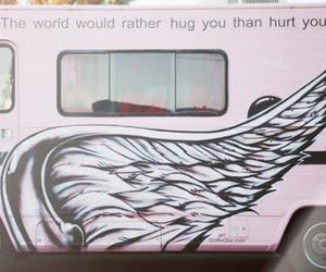 hug, bus, and pink image