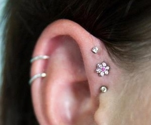 forward helix piercing, flower stud, and style fashion girl image