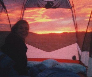 sun, sunset, and camping image