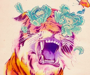 tiger, flowers, and art image