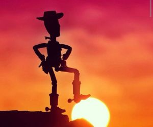 woody, sun, and sunset image