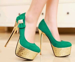 golden, green, and heels image