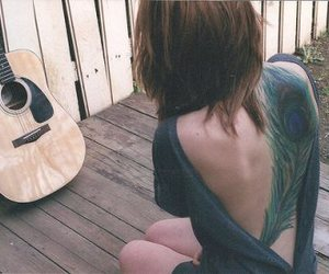 acoustic guitar, back, and fashion image