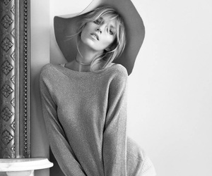 anja rubik, hat, and black and white image