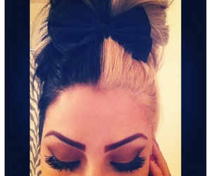 hair, black, and bun image
